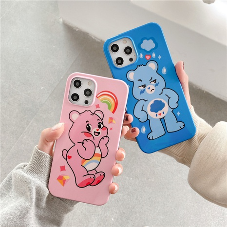 cute cartoon rainbow bear mobile phone case for Apple 12mini 11pro 8plus se2 XR MAX NHFI297146's discount tags