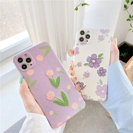 Korean embroidery flowers 12mini11pro silk pattern mobile phone case for Apple XRse28plus NHFI297159's discount tags