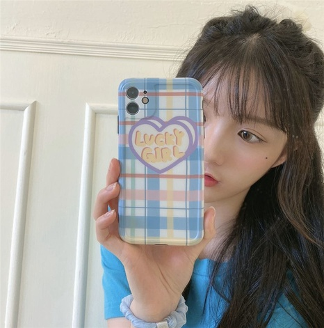 Blue lattice lucky girl Apple 8plusPromax mobile phone case for iPhone11 silicone SE2XR NHFI297166's discount tags