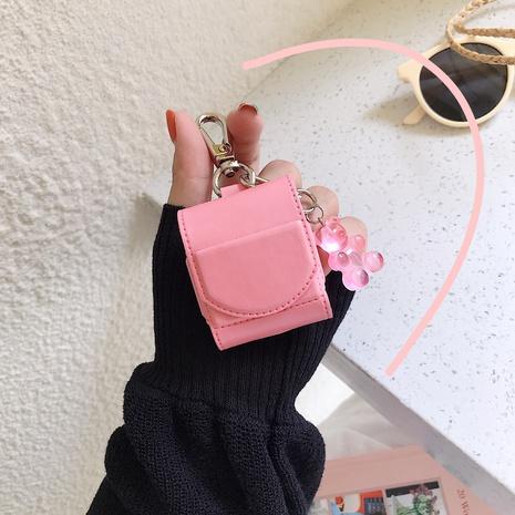 Schutzhülle aus rosa Lederbären-Schlüsselbund für die Apple AirPods12-Generation NHFI297196's discount tags