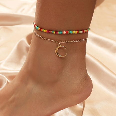 Bohemian hand-woven rice beads moon multilayer anklet NHLA297280's discount tags