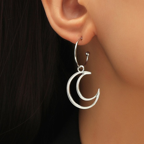Retro moon earrings NHLA297278's discount tags