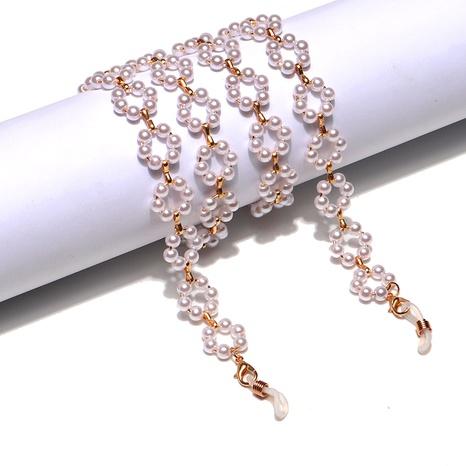 Mode einfache weiße Blume Perle Gläser Kette NHBC297405's discount tags