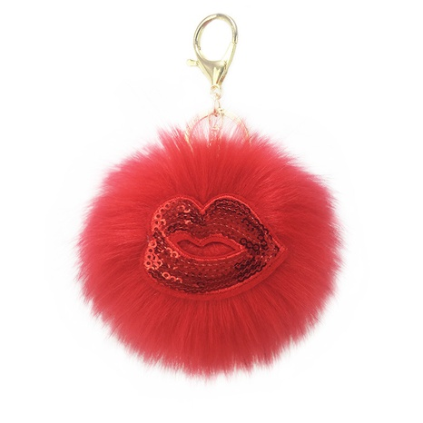 Reflective sequins red lips fur ball keychain  NHAP297564's discount tags