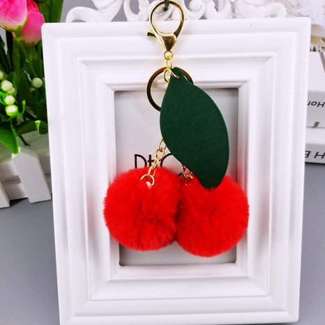 fruit pu cherry leaves imitation rex rabbit fur ball keychain  NHAP297567's discount tags