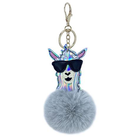 new laser glossy PU alpaca hair ball keychain NHAP297570's discount tags