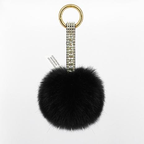 Plüschkugel-Schlüsselbund aus Leder mit Diamanten NHAP297582's discount tags