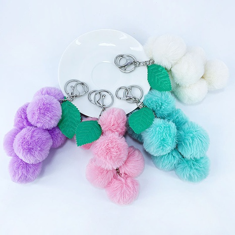 New creative imitation rex rabbit fur ball grape bunch keychain NHAP297593's discount tags