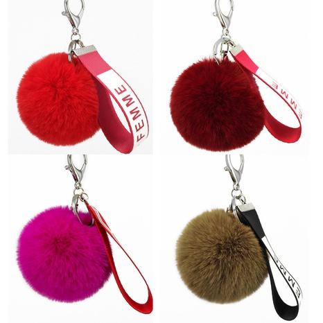 New  imitation rex rabbit fur ball webbing keychain  NHAP297600's discount tags