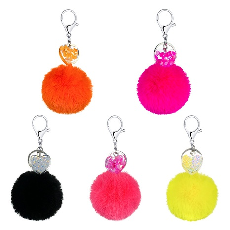 New Heart Shaped Acrylic Hair Ball Keychain  NHAP297605's discount tags