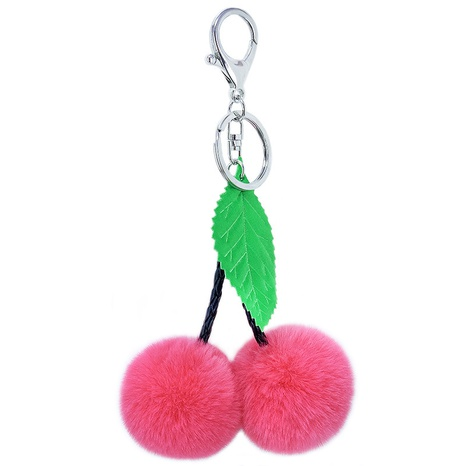 Neues kreatives Seidenstoffblatt 5CM Kirschfruchthaariger Kugelschlüsselbund NHAP297607's discount tags