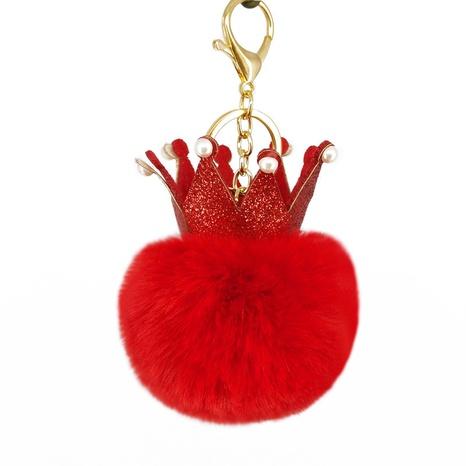 New inlaid pearl crown imitation rabbit fur ball keychain  NHAP297610's discount tags