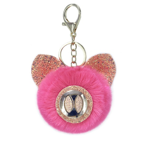 New PU green onion powder sequined pig hair ball keychain  NHAP297613's discount tags