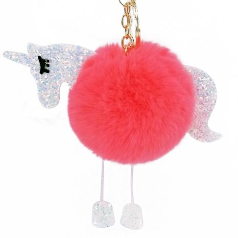 Unicorn hair ball PU bright color keychain NHAP297616's discount tags