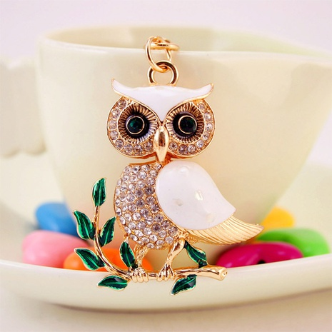 Dripping Oil White Shell Owl Car Keychain NHAK297625's discount tags
