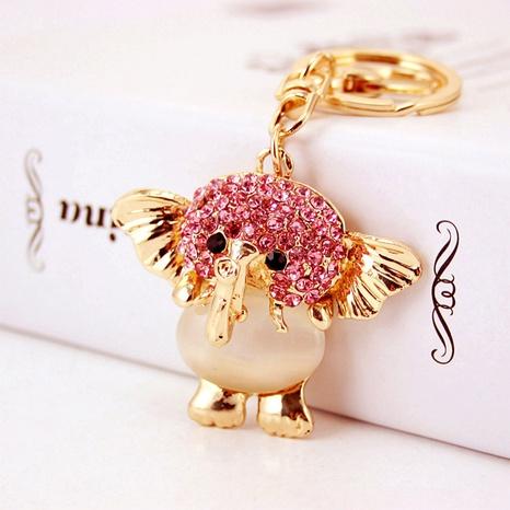 Creative cartoon cat's eye stone diamond elephant keychain NHAK297627's discount tags