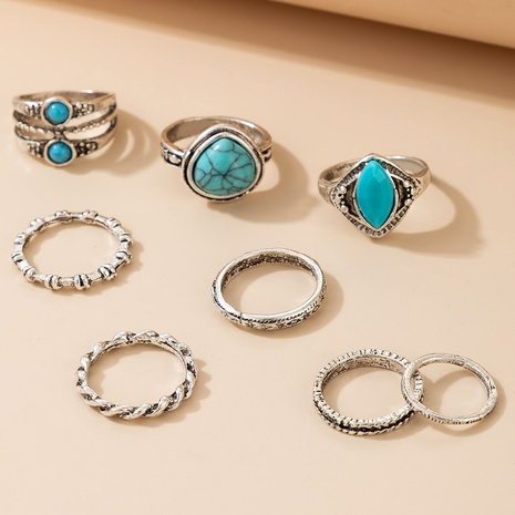 Retro turquoise rings set NHGY297906's discount tags