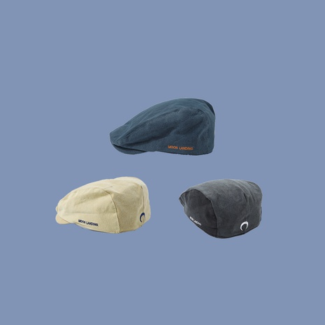 Fashion retro embroidery anti-wearing peaked forward cap  thin moon beret hat NHTQ242404's discount tags
