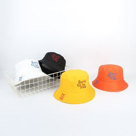 Couple Korean New Hat Letter Embroidered Outdoor Sunshade Hat Large Eaves Flat Top Basin  Fisherman hat NHTQ242396's discount tags