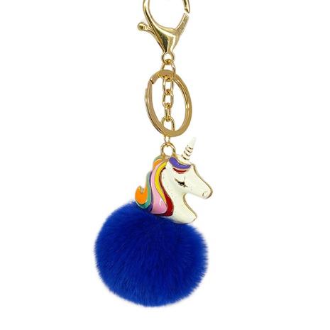 color unicorn imitation otter rabbit fur ball pendant car keychain NHAP297565's discount tags
