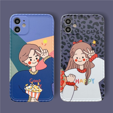 Cartoon Biye couple soft shell 12mini11pro mobile phone case for Apple 8plusXRse2xsmax NHFI297202's discount tags