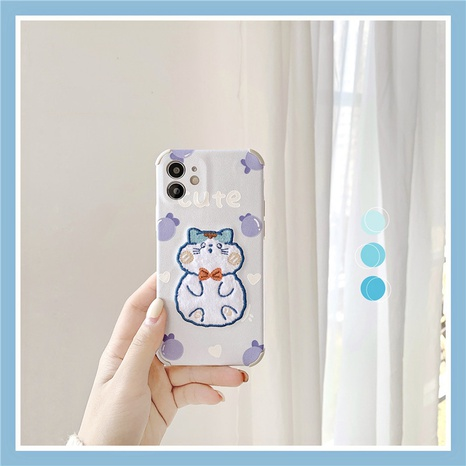 cute bow cat 12mini11pro silk pattern mobile phone case for Apple XRse28plus NHFI297184's discount tags