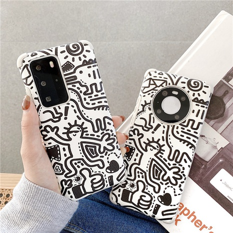 Korean spoof line graffiti cartoon 12mini11pro mobile phone case for Apple se2XRX8plus NHFI297181's discount tags