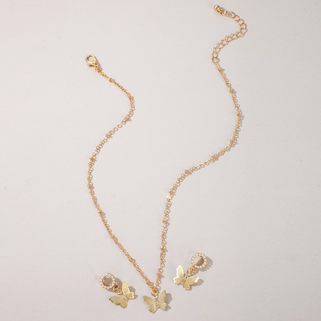 Hollow butterfly diamond pearl earrings necklace set NHGY297899's discount tags