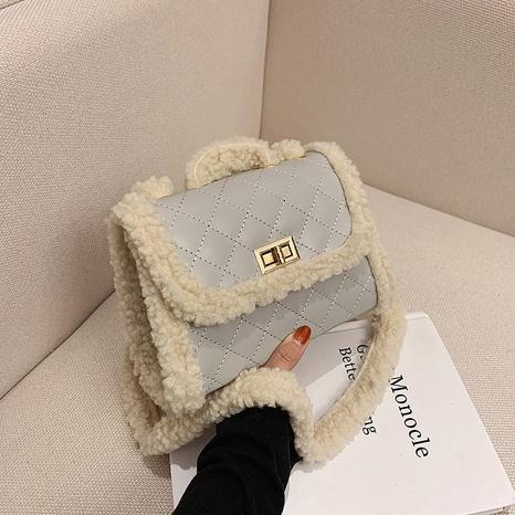 Mode pelzige kleine quadratische Tasche NHRU297856's discount tags