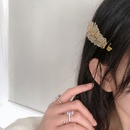 Geometric duckbill clip feather pearl golden hair clips set alloy hair accessories NHWF297956