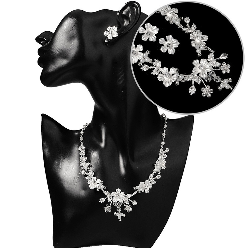 Korean rhinestone flower necklace earrings set wedding dress accessories dinner party jewelry NHHS297982