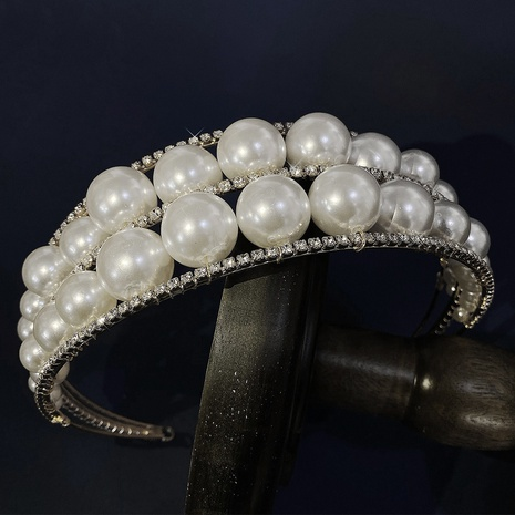 wide brim crown pearl headband NHHS297983's discount tags