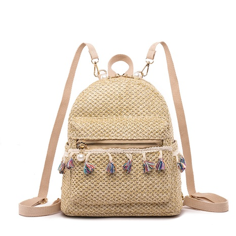 fringed straw woven backpack  NHTG297968's discount tags