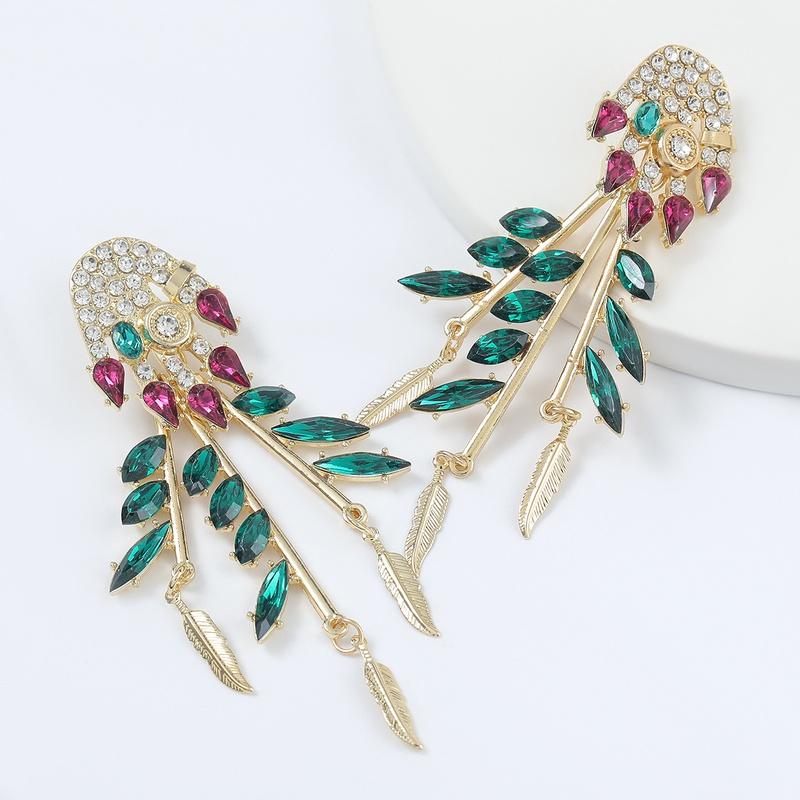 Fashion colored diamond alloy acrylic flower leaf tassel earrings  NHJE298027