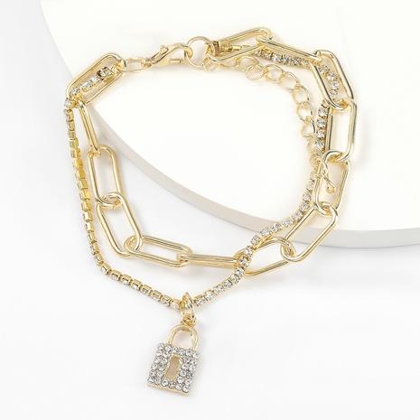 Diamantbesetztes Lock-förmiges Perlenarmband aus Modelegierung NHJE298025's discount tags