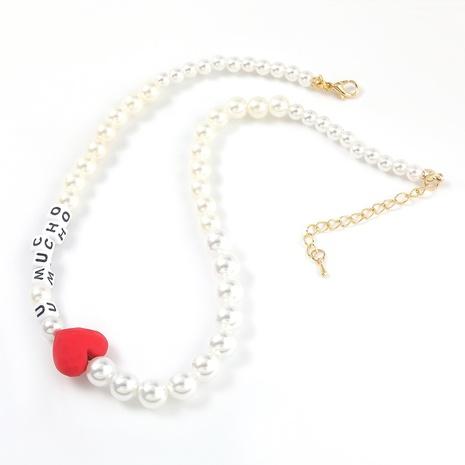 Mode Nachahmung Perlrot Herz Harz Englisch Buchstaben Halskette NHJE298021's discount tags