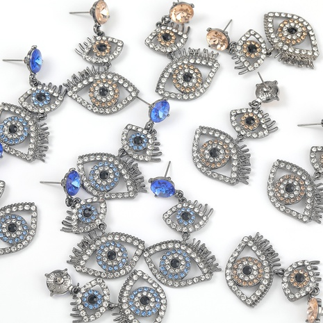 Fashion alloy diamond-studded acrylic multi-layer eye earrings  NHJE298036's discount tags