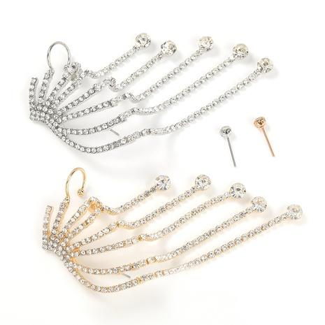 Modische Legierung Diamant Strass Super Flash Klaue Kette asymmetrische Ohrringe NHJE298035's discount tags