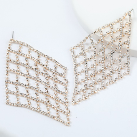 Super flashing claw chain mesh alloy diamond rhinestone earrings NHJE298038's discount tags