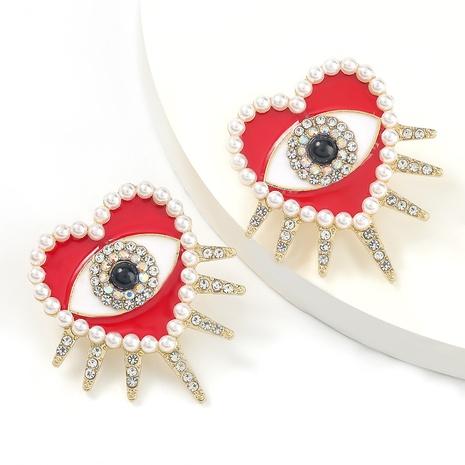 Modische Legierung Tropfen Öl Diamant lieben herzförmige Augenohrringe NHJE298041's discount tags
