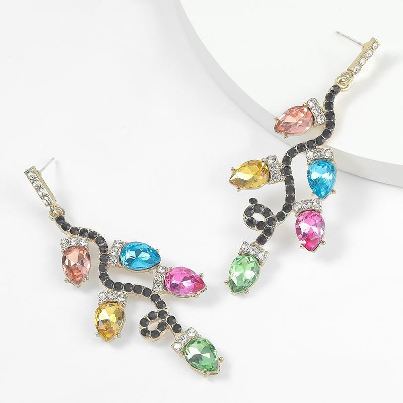 Alloy diamondstudded acrylic flower branch flower earrings  NHJE298046