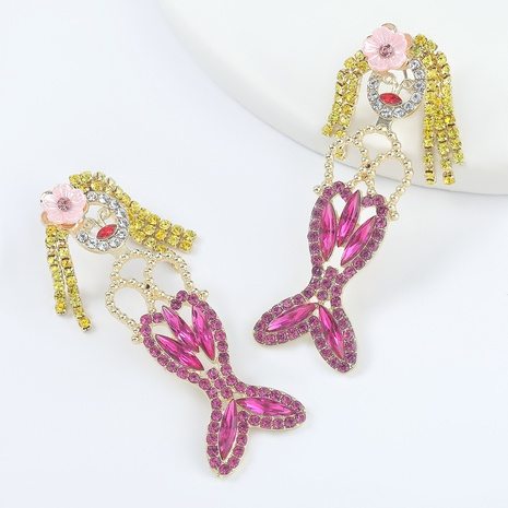 Legierte diamantbesetzte Acryl-Meerjungfrauenohrringe NHJE298047's discount tags