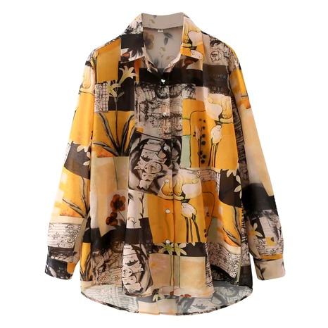 art painting printing lapel long sleeve shirt  NHAM290271's discount tags