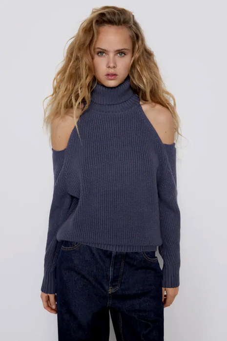 shoulder hollow knit sweater  NHAM290273's discount tags