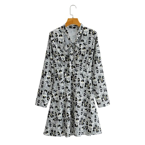 vestido de manga larga con cuello de pico floral blanco NHAM290282's discount tags
