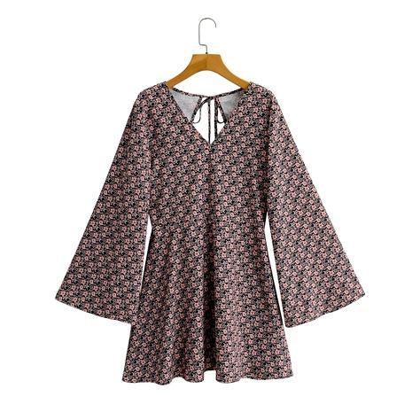 Vestido estampado con cordones y escote en pico en la espalda NHAM290288's discount tags