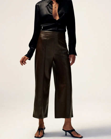 loose straight leather pants  NHAM290291's discount tags