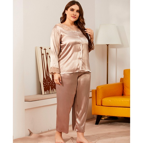lace v-neck long-sleeved large size pajamas  NHJO290310's discount tags