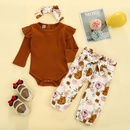 childrens printed longsleeved clothes twopiece NHLF290319