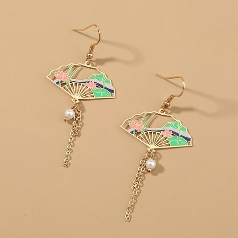retro tassel fan-shaped long earrings  NHAN290462's discount tags